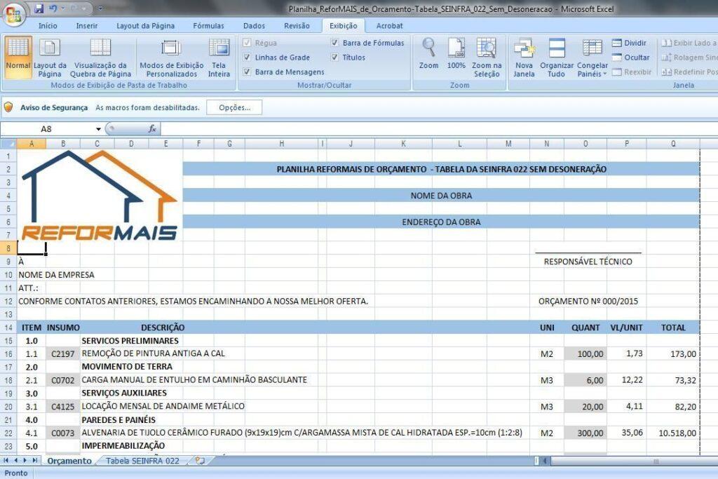 Planilha_ReforMAIS_de_Orcamento-Tabela_SEINFRA_022_Sem_Desoneracao