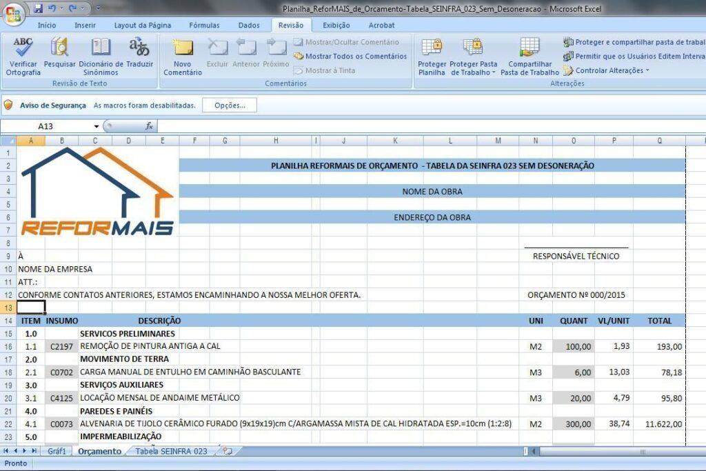Planilha_ReforMAIS_de_Orcamento-Tabela_SEINFRA_023_Sem_Desoneracao
