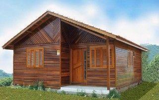 Projeto Completo de Casa de Madeira com 02 quartos (54m²)