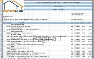 Planilha de Orçamento integrada com a Tabela 024 da SEINFRA