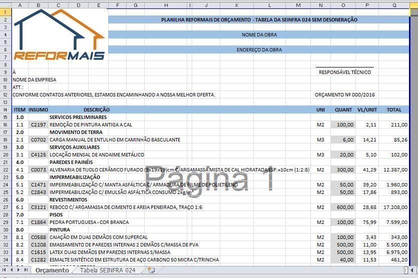 Tabela SEINFRA 024 - Sem Desoneração
