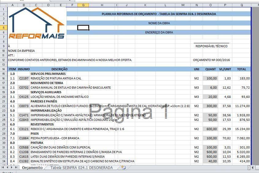 Tabela SEINFRA 024.1 - Desonerada
