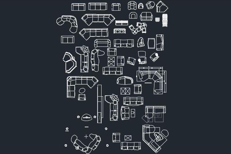 60 Blocos CAD em DWG – Sofás, poltronas e móveis para estar