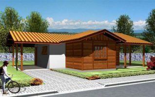 Projeto Completo de Casa de Madeira com 02 quartos (42m2)