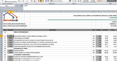 Planilha de Orçamento integrada com a Tabela 026 da SEINFRA